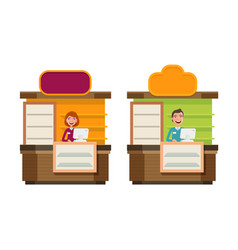 Shop store counter shopping icon storefront vector