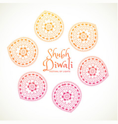 Shubh diwali greeting card with paisley design vector