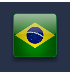 Square icon with flag of Brazil vector image vector image