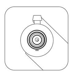 Square shape with silhouette digital camera lens vector