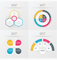 Template design 4 item yellow blue pink color vector