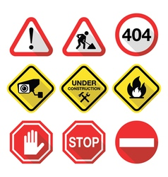 Warning signs - danger risk stress - flat design vector