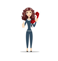 Young woman with red telephone receiver vector