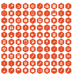 100 learning icons hexagon orange vector image vector image