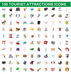 100 tourist attractions icons set cartoon style vector