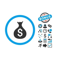 Money sack flat icon with bonus vector