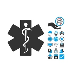 Medical emblem flat icon with bonus vector