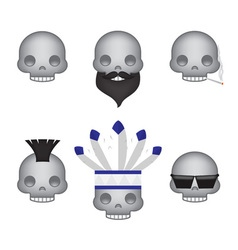 Set of skull emoticon vector