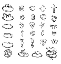 Set with stylized rings beads and charms for vector