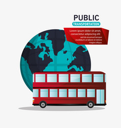 red bus two storied tourism public transport vector image