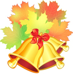 maple leaf and the school bell vector image