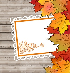 Autumn card with leaves maple wooden texture vector