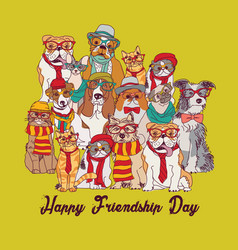 group fashion best friends pets fun animals green vector image