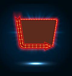 Arrow and billboard sign of shining blue light vector