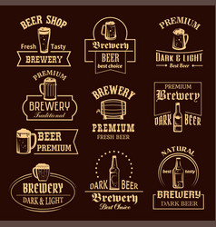 Icons set for beer brewery pub or bar vector