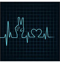Heartbeat make victory hand and heart vector
