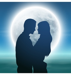 Sea with full moon and silhouette couple at night vector