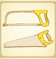 Sketch saws for wood and metal vector