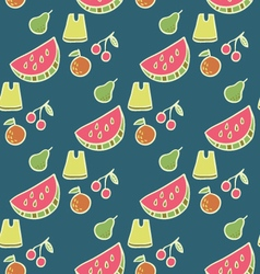 Juicy summer beach fruits seamless pattern vector
