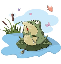 Green big frog cartoon vector