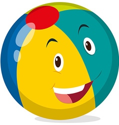 Beach ball with happy face vector