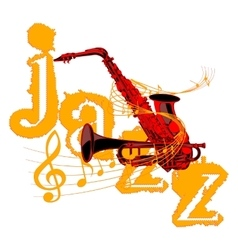 Saxophone and trumpet entwined with music notes vector