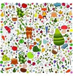 Floral forest background with doodles for textile vector