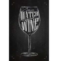 Poster drink wine chalk vector