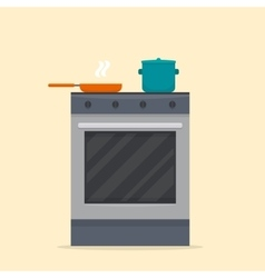 Stove in kitchen vector