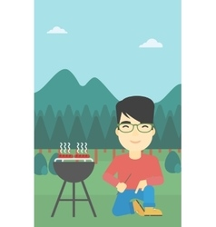 Man cooking meat on barbecue vector
