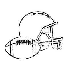 American football helmet ball sport equipment vector