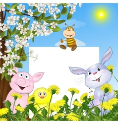 Animals with the poster against flowers and a vector