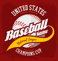 ball for american sport baseball game logo vector image vector image