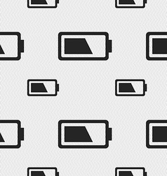 Battery half level icon sign Seamless pattern with vector image