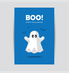 blue halloween greeting card with ghost vector image