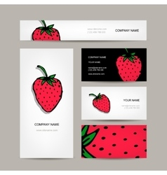 Business cards collection strawberry design vector image vector image