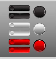 Button set red black white add prominence vector