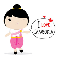Cambodia women national dress cartoon vector