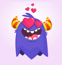 cartoon blue cool monster in love vector image