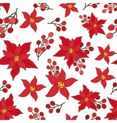 Christmas seamless patternred poinsettiaberries vector