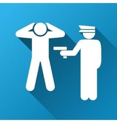Criminal arrest gradient square icon vector