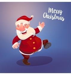 Cute santa on vintage blue backdrop vector