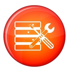 Database with screwdriverl and spanner icon vector