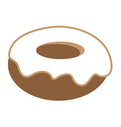 donut with white vanilla cream icon vector image vector image
