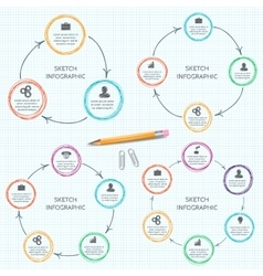 Doodle circle elements for infographic vector