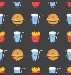 franch fries burger and cola seamless pattern vector image vector image