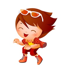 Girl wearing baseball outfit vector image vector image