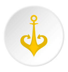 Gold anchor icon circle vector