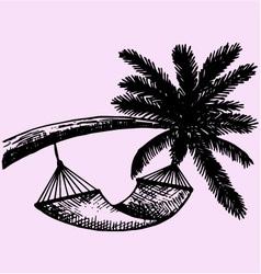 Hammock hanging palm vector