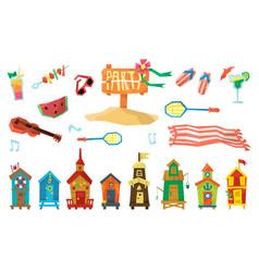 Holidays on the beach objects set vector